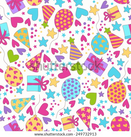 Vector seamless pattern. Birthday party background. Cute vector illustration. - stock vector
