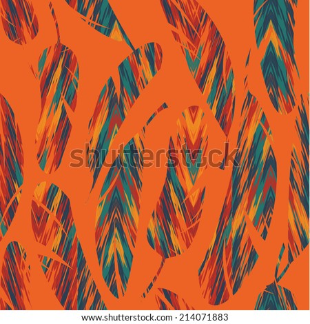 Vector seamless pattern. Bright abstract feathers. Carnival, celebration, fun. - stock vector
