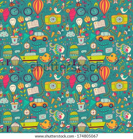 Vector seamless pattern, childish doodles. Pattern ,set of different school, travel, romantic things. Enjoy life concept. Use for wallpaper, pattern fills, web page background,surface textures. - stock vector