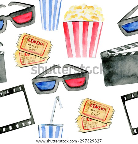 Vector seamless pattern Cinematographic attributes. Hand drawn watercolor objects on white background. Cinema tickets, drink, pop-corn, 3D glasses, cinema frame and clapper board. - stock vector
