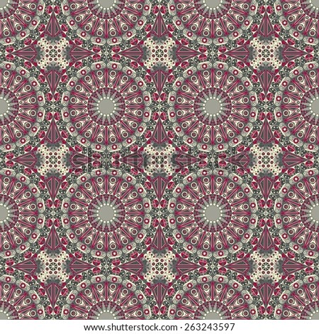 Vector seamless pattern. Colorful ethnic ornament. Arabesque style - stock vector