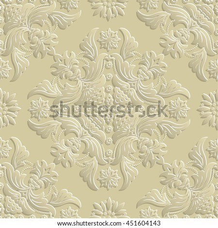 Vector seamless pattern. 3d luxury elegant texture in Baroque style. Pattern can be used as a background, wallpaper, wrapper, page fill, element of ornate decoration - stock vector