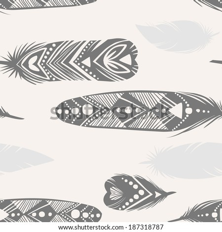 Vector seamless pattern. Feather silhouettes on light background - stock vector