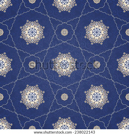 Vector seamless pattern, filigree background. Vintage element for design in Eastern style. Ornamental blue tracery. Ornate floral decor for wallpaper. Endless texture. Delicate pattern fill. - stock vector