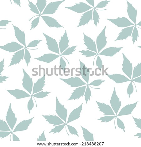 Vector seamless pattern. Floral background. Vertical branches with chaotic leaves - stock vector