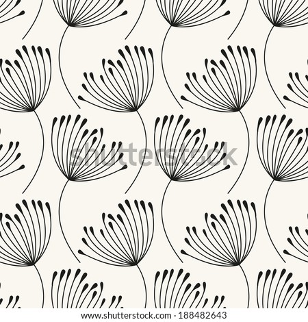 Vector seamless pattern. Flying of dandelion seeds - stock vector