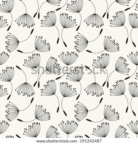 Vector seamless pattern. Flying of dandelion seeds. Stylish repeating texture - stock vector