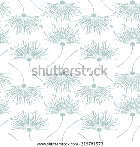 Vector seamless pattern. Flying of dandelion seeds. Stylish repeating texture. Cute pastel print - stock vector