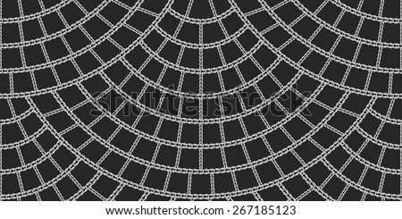 Vector seamless pattern from grey knitted loops and chains on black background - stock vector