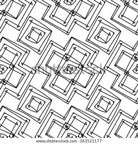 Vector seamless pattern. Geometric striped ornament. Monochrome linear braids. Contemporary graphic design. - stock vector