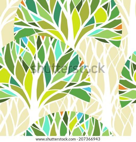 Vector seamless pattern. Green trees. - stock vector