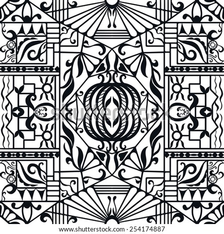 Vector seamless pattern, hand drawn sketch, tribal ethnic ornament, fabric texture. Monochrome background. Black and white - stock vector