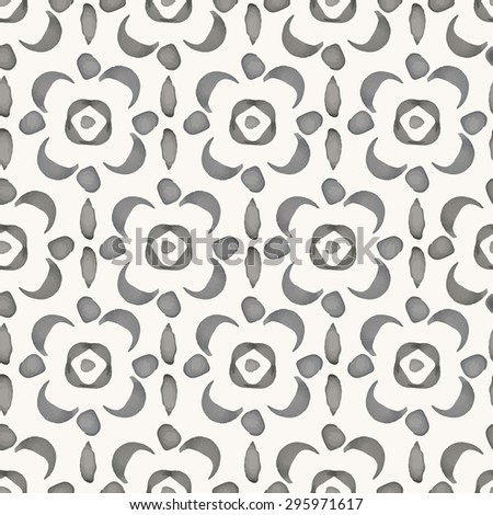 Vector seamless pattern. Hand drawn watercolor oriental ornament in grey colors. Rustic monochrome decoration. For cards, banners, ethnic backgrounds. - stock vector