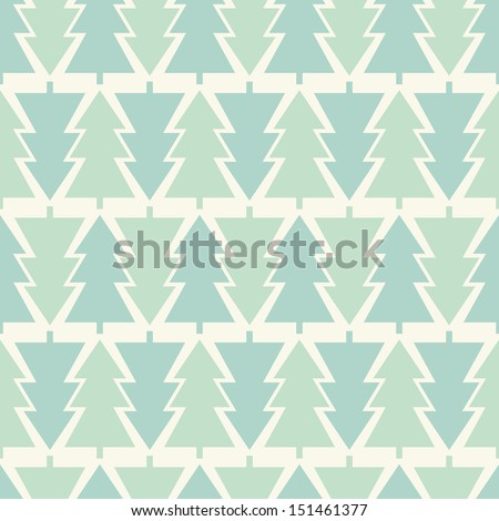 Vector seamless pattern. Holiday texture. Stylish geometric print with Christmas trees - stock vector