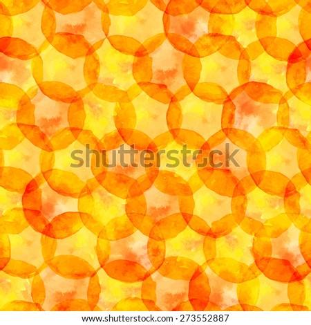 Vector seamless pattern - honey watercolor orange and yellow circles - stock vector