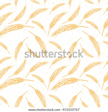 Vector seamless pattern illustration ears of wheat. Hand drawn sketch seamless pattern. malt grain, spica, wheat grain. Malt beer pattern. material for beer production. Autumn harvest. - stock vector