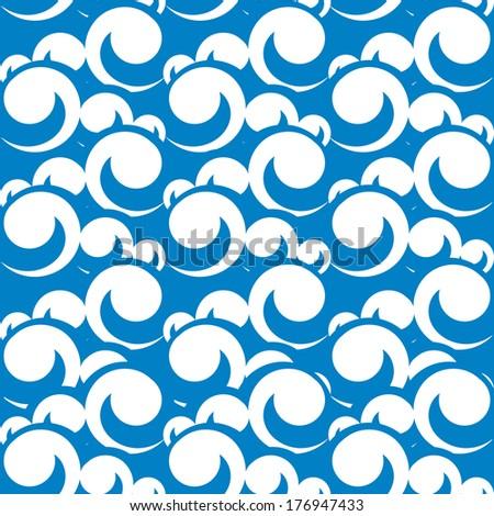 vector seamless pattern illustration of sea waves - stock vector