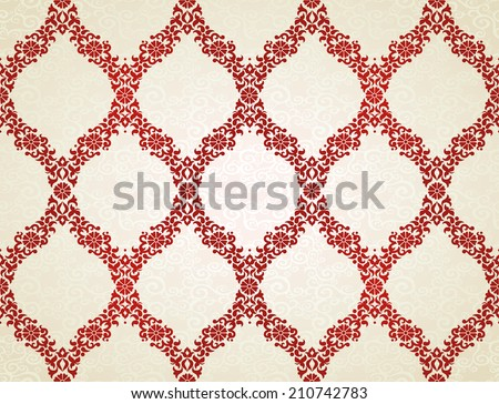 Vector seamless pattern in Eastern style. Red element for design. Ornamental lace tracery on light background. Ornate floral decor for wallpaper. Endless texture. Contrast pattern fill. - stock vector
