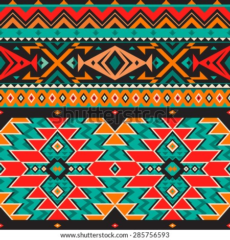 Vector Seamless Pattern in Tribal Style. Ethnic Background with Triangles, Rhombus and Stripes for Fabric Design - stock vector