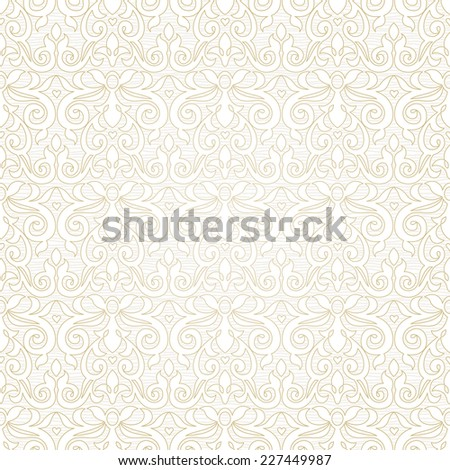 Vector seamless pattern in Victorian style. Beige monochrome element for design. Ornamental vintage tracery. Ornate floral decor for wallpaper. Endless vintage texture. Light pattern fill. - stock vector