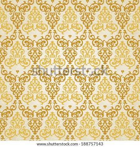 Vector seamless pattern in Victorian style. Element for design. Ornamental backdrop. Golden floral ornament on light background. Ornate decor for wallpaper. Endless texture. Deluxe pattern fill. - stock vector