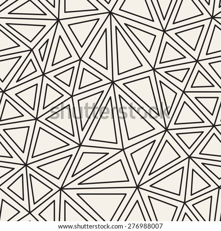 Vector seamless pattern. Irregular abstract linear grid. Graphical hand drawn background. Reticulated monochrome texture with triangles. Trendy hipster graphic design. - stock vector