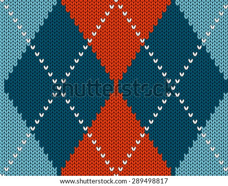 Vector seamless pattern. Knitted background with diamonds. - stock vector