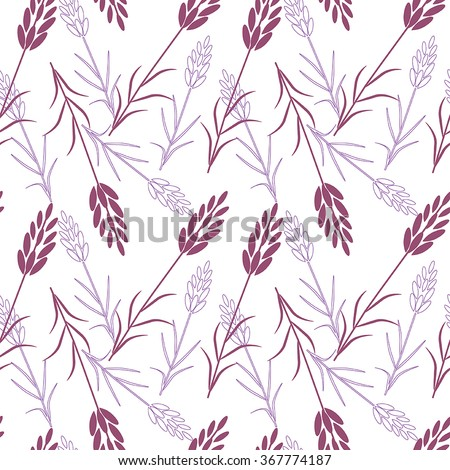 Vector seamless pattern.Lavender, herbs, Provence. White background - stock vector