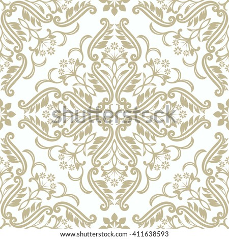 Vector seamless pattern. Luxury elegant texture of baroque style. Pattern can be used as a background, wallpaper, wrapper, page fill, element of ornate decoration - stock vector