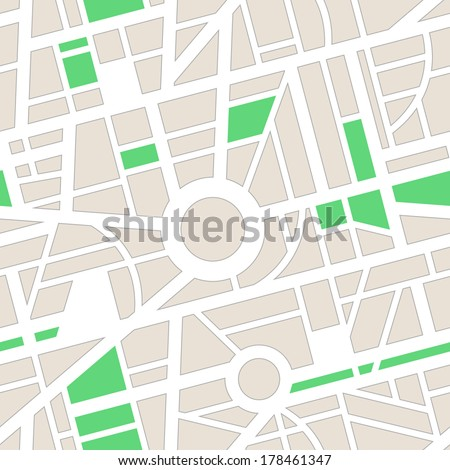Vector seamless pattern. Minimal city map. Roads, navigation, GPS. Use for pattern fills, surface textures web page background, wallpaper. - stock vector