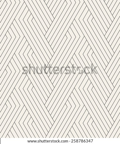 Vector seamless pattern. Modern linear texture. Repeating geometric background. Striped hexagonal weaved grid. Contemporary graphic design. Regular rhythmic print. - stock vector