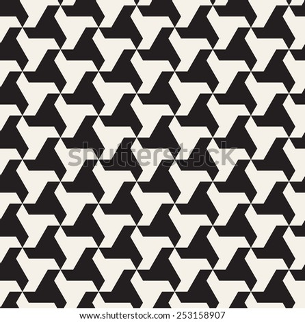 Vector seamless pattern. Modern stylish monochrome texture. Repeating abstract background with twisted triangular elements. Black and white geometric tiles - stock vector