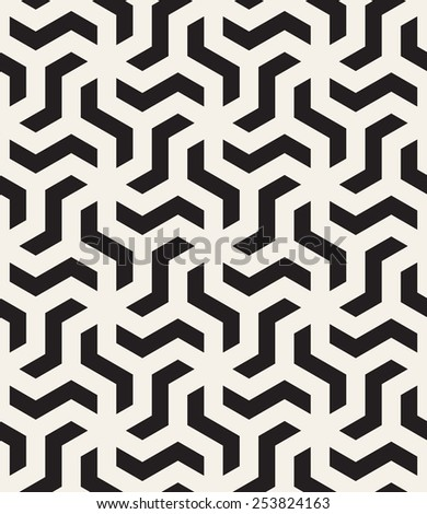 Vector seamless pattern. Modern stylish monochrome texture. Repeating abstract background with twisted polygonal elements. Black and white geometric tiles - stock vector