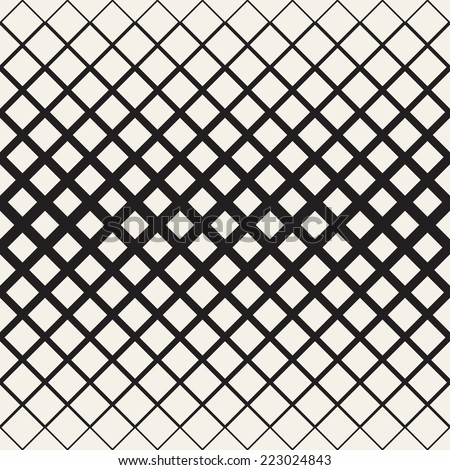Vector seamless pattern. Modern stylish texture. Geometric ornament. Diagonal square grid with thickness which decreases gradually - stock vector