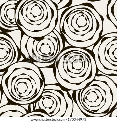 Vector seamless pattern. Modern stylish texture. Repeating abstract background with stylized roses - stock vector