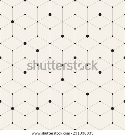 Vector seamless pattern. Modern stylish texture. Repeating geometric background with linear rhombuses and circles variously sized in nodes - stock vector