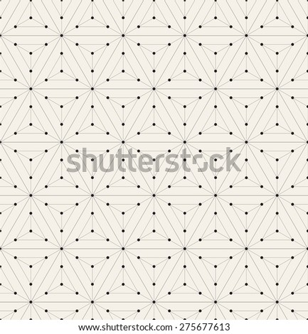 Vector seamless pattern. Modern stylish texture. Repeating geometric background with linear hexagons and triangles. Small circles in nodes. Minimalistic graphic design. - stock vector