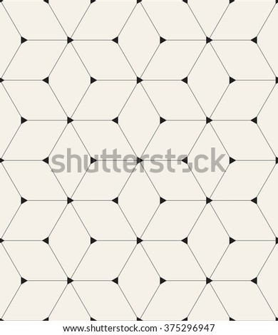 Vector seamless pattern. Modern stylish texture. Repeating geometric background with linear rhombuses and filled triangles in nodes. - stock vector
