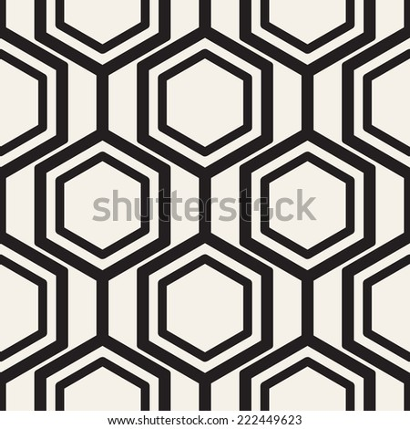 Vector seamless pattern. Modern stylish texture. Repeating geometric background with monochrome hexagons - stock vector
