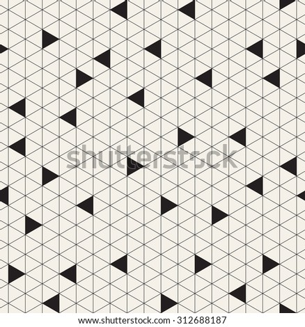 Vector seamless pattern. Modern stylish texture. Repeating geometric background with triangular linear grid. Randomly disposed black filled triangles. Monochrome graphic design. - stock vector