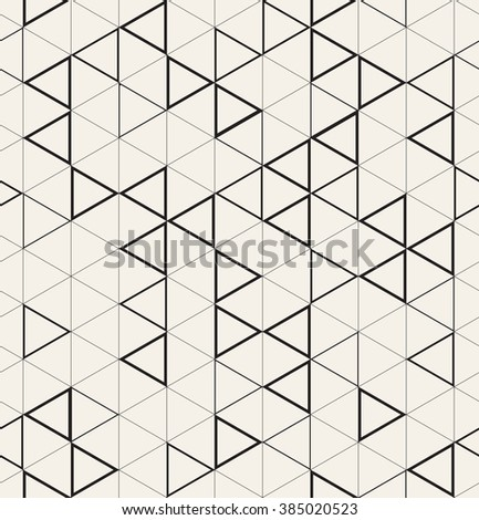 Vector seamless pattern. Modern stylish texture. Repeating geometric background with triangular linear grid. Randomly disposed bold triangles. Monochrome graphic design. - stock vector