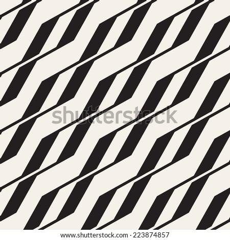 Vector seamless pattern. Modern stylish texture. Repeating geometric tiles. Diagonal zigzag  - stock vector