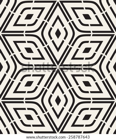 Vector seamless pattern. Modern stylish texture. Repeating geometric tiles. Rhombuses form six-petalled flowers. Monochrome contemporary graphic design. - stock vector