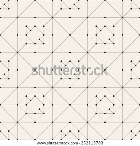 Vector seamless pattern. Modern stylish texture. Repeating geometric tiles. Simple grid with linear triangles. Small circles in nodes - stock vector