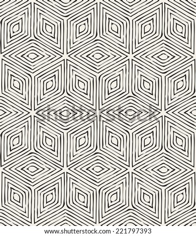 Vector seamless pattern. Modern stylish texture. Repeating geometric tiles. Striped rhombuses forming a hexagon - stock vector