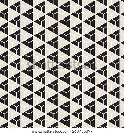 Vector seamless pattern. Modern stylish texture. Repeating geometric tiles with black and beige triangles - stock vector