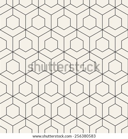 Vector seamless pattern. Modern stylish texture. Repeating geometric tiles with hexagonal linear grid - stock vector