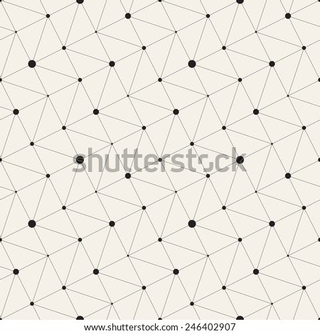 Vector seamless pattern. Modern stylish texture. Repeating geometric tiles with linear triangle grid  and filled circles in nodes - stock vector
