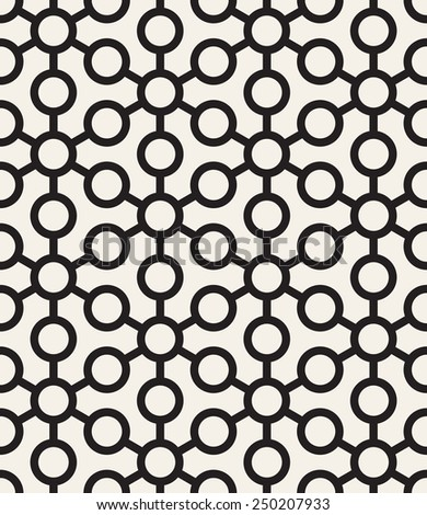 Vector seamless pattern. Modern stylish texture. Repeating geometric tiles with linear triangles and circles - stock vector