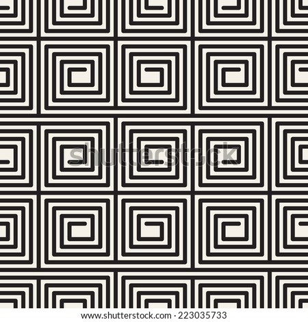 Vector seamless pattern. Modern stylish texture. Repeating pattern. Monochrome linear maze - stock vector